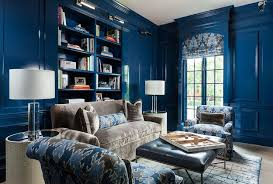 Blue Bookcases Brass Lights With Black Built In Bookcases Contemporary Den