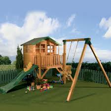 gorgeous wooden outdoor playhouse design with swing and