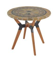 Supreme Furniture Chair Sandstone Mosaic Eucalyptus And Metal Bistro Table