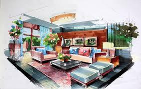 Bedroom Interior Design Sketches Green Living Room Interior Design By Hand Drawing Jpg 1021 645