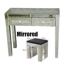 glass mirrored console table mirrored glass with 2 drawers dressing table with stool mirror
