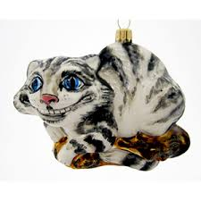 cheshire cat in glass ornament