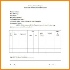 training schedule template art resume examples