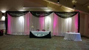 Black And White Chair Covers White Pipe U0026 Drape With Black Swagging Pink Uplights Black