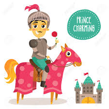 illustration of a funny knight on a horse prince charming