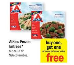 atkins frozen meals 0 99 ea at meijer with bogo free sale and