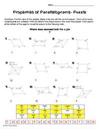 properties of parallelograms worksheet properties of parallelograms puzzle worksheet by mrs castro s class