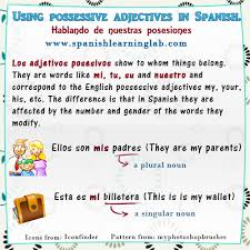 using spanish possessive adjectives in sentences spanishlearninglab