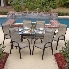 Glass Top Patio Table And Chairs Madison Bay 7 Piece Aluminum Sling Dining Set With Stacking Chairs