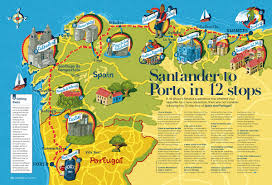 Portugal And Spain Map by Elly Walton Illustrations