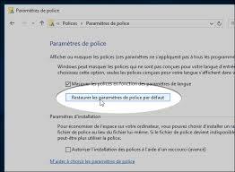 windows 10 restaurer les paramètres de par défaut