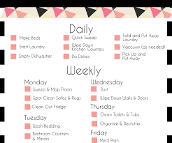 examplary a basic cleaning schedule checklist printable to posh