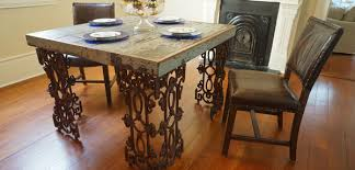 wood and iron dining room table wrought iron dining table rustic table doorman designs