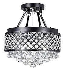 crystal semi flush mount lighting interior design for life 4 light antique black round metal