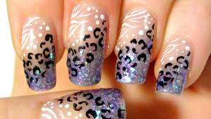 purple leopard and zebra print glittery tips design nail art