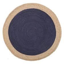 Jute Braided Rugs Porto Navy Blue Hand Braided Round Jute Rug