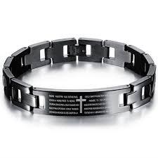 black man bracelet images Stainless steel man bracelet classical spanish holy bible cross jpg