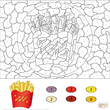 french fries color by number coloring page free printable