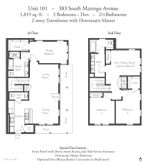 Townhome Floor Plan by Evanston Court Pasadena