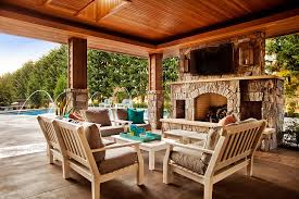Pool And Patio Decor Covered Patio Decorating Ideas With Large Outdoor Stone Fireplace