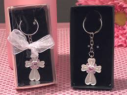 keychain favors white cross keychain with pink crystals