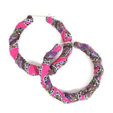 school earrings pink purple multi color bamboo earrings fabric wrapped bamboo