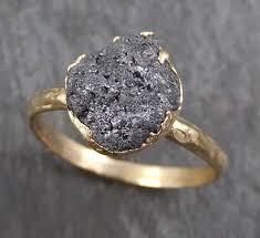 diamond rings wedding images Rough raw black grey diamond engagement ring raw 14k gold wedding jpg