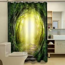 Jungle Blackout Curtains Jungle Shower Curtain 3d Printed Green Trees Blackout Curtains For
