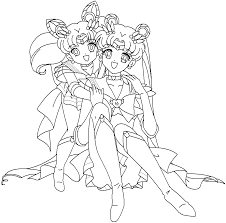 usagi and chibiusa hugging each other coloring page cute pages