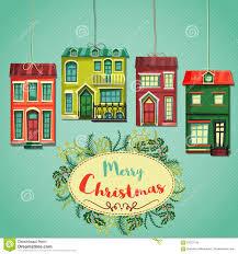 merry christmas retro card vintage cartoon city houses and wreath