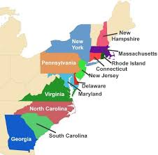 the thirteen colonies map colonial america for the thirteen colonies