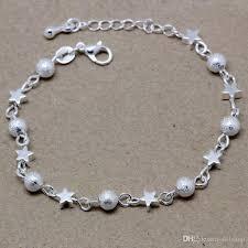 silver star charm bracelet images S925 silver star charm bracelet with matte round beads bracelets jpg