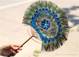 peacock feather fan 2018 2018 well sell peacock feather fan handmade craft top