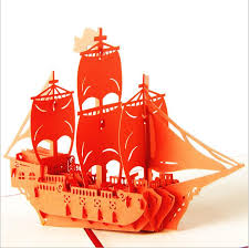 new 3d ship happy birthday pop up cards wedding gift greeting card