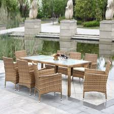 Rattan Kitchen Chairs 9pcs Wicker Rattan Sofa Furniture Set Patio Garden Lawn Cushioned