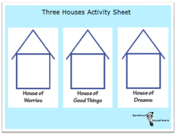 three houses direct work with children and houses and faces