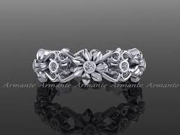 engagement ring right floral wedding band 14k white gold band wedding ring