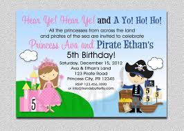 Princess Birthday Invitation Card Princess Pirate Birthday Invitation Princess And Pirate Party