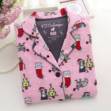 pj salvage pink cats multi pajamas set size l ebay