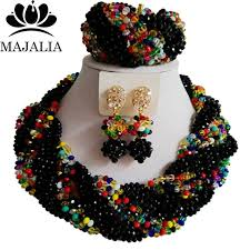 african crystal beads necklace images 2017 fashion black african crystal beads necklace set nigerian jpg