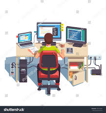 Big Computer Desk by Professional Programmer Working Writing Code His Stock Vector