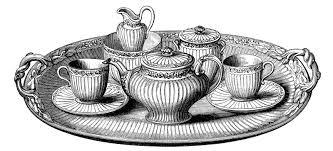 vintage tea set vintage clip tea set with platter the graphics fairy