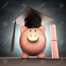 graduation piggy bank graduation cap on piggy bank concept of saving money to the