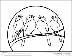 four calling birds coloring page