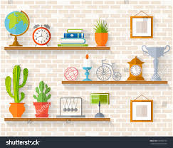 home decor houseplants souvenirs on shelves stock vector 626356775