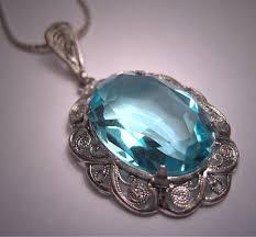 vintage necklace pendant images Antique aquamarine blue topaz necklace silver filigree pendant jpg