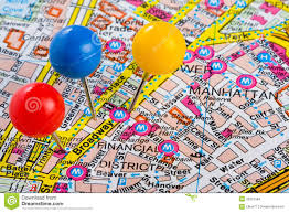 New York City Manhattan Map by Pushpins In Manhattan New York Map Stock Images Image 33921584