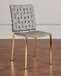 Leather Dining Chair Interlude Home Kennedy Woven Leather Dining Chair