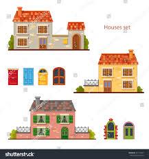 set cute vector cartoon brick houses stock vector 427115497