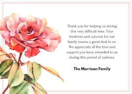thank you cards for funeral bereavement wording for thank you cards